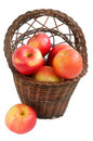 Free Wicker Basket With Red Apples. Stock Image - 8789301