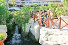 Teens At The Waterfall Stock Photo