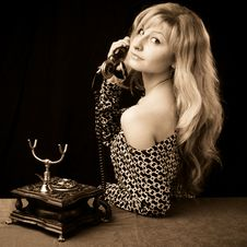 Free Lovely Girl On Telephone Stock Image - 8783091