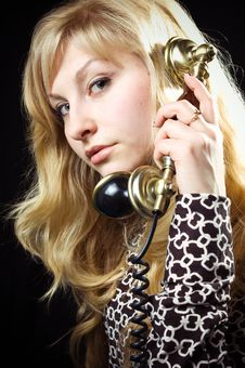 Free Lovely Girl On Telephone Royalty Free Stock Image - 8783106