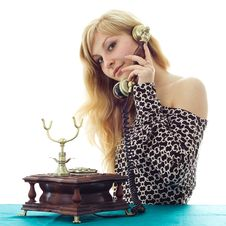 Free Lovely Girl On Telephone Stock Photo - 8783130