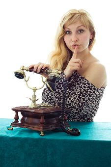 Free Lovely Girl On Telephone Royalty Free Stock Photography - 8783147