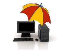 Free Umbrella And Computer Royalty Free Stock Photos - 8785578