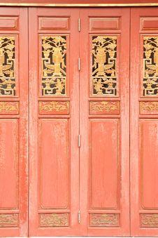 Chinese Style Wood Door Stock Photo