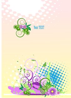 Free Grunge Vector Floral Design. Stock Photos - 8788993
