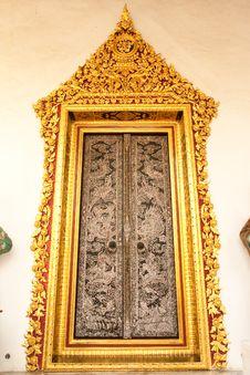 Traditional Thai Art Door Stock Images