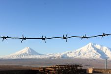 Ararat Behind Barbed Wire Stock Images