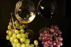 Free Two Glasses And A Bottle Of Wine Stock Photos - 8789273