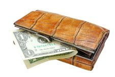 Old Purse And One Dollar Banknote. Stock Photos