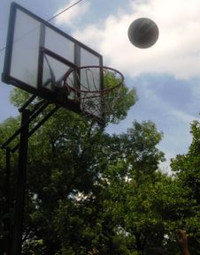 Free Basketball-heading-for-the-net Royalty Free Stock Photos - 87851828