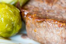 Free Beef Steak With A Side Of Brussels Sprouts Stock Image - 87851961