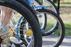 Free Bicycles Waiting Turn In Agility Competition. Stock Photography - 87852102