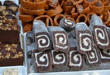 Free Brownies-with-wallnuts-coconut-rolls-and-caramel-rings Royalty Free Stock Images - 87852799