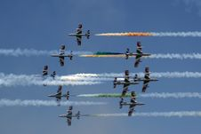 Free Italian Frecce Tricolori Air Acrobatics Planes Engaged In A Head-on Pass. Royalty Free Stock Photos - 87855328