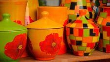 Free Hand-painted-ceramic-pottery-with-floral-and-geometrical-motifs Royalty Free Stock Photography - 87855637