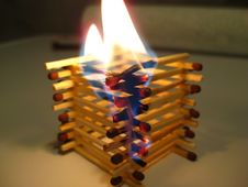 Free Matchstick-tower-on-fire Stock Photos - 87856063