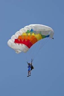 Free Woman Parachutist Performing At An Aerial Show. Stock Photography - 87858442