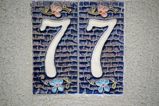 Free Picture Of A Ceramic House Numbering Plate With Floral Motifs. Stock Image - 87859011