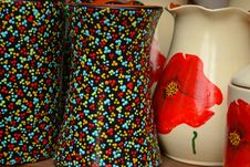 Free Vases-with-floral-motifs Royalty Free Stock Image - 87859336