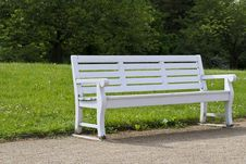 Free White Wooden Bench With Grassland In The Background Stock Photos - 87859523
