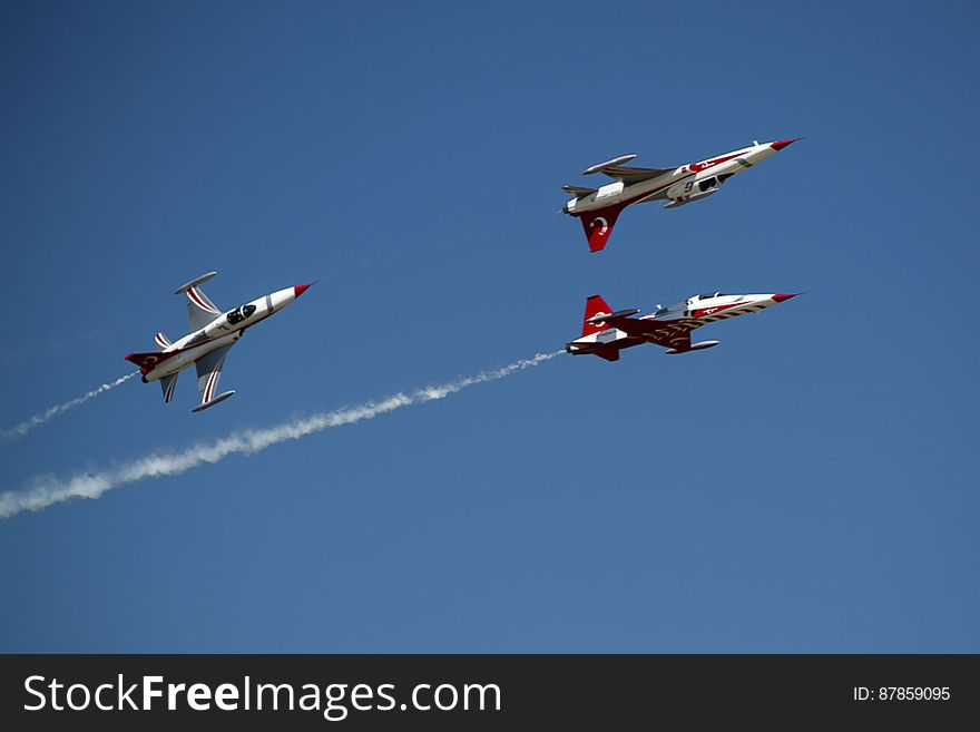 Turkish aerobatics team of NF-5A Freedom Fighter flying at air show.