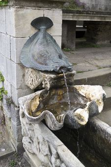 Free Bronze Water Fountain In Form Of A Plaice Flat Fish Stock Photography - 87863192