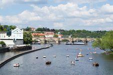 Free Paddle Boats On Vltava River Royalty Free Stock Image - 87864136