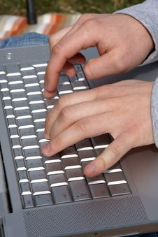 Free Man S Hands Typing At Laptop Stock Image - 8791291