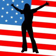 Free Women Silhouette On American Flag Stock Photos - 8791383