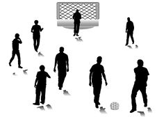 Free Men Silhouettes Play Football Royalty Free Stock Photo - 8791595