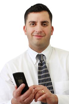 Free Businessman Holding His Cellphone Stock Photography - 8791692