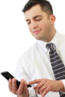 Free Businessman Holding His Cellphone Royalty Free Stock Image - 8791696
