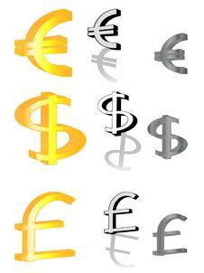 Free Euro, Pound And Dollar Stock Photo - 8791720
