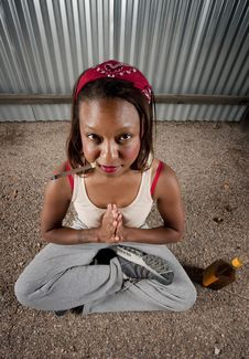 Free Cigar Smoking And Drinking Woman Meditating Royalty Free Stock Photography - 8792157