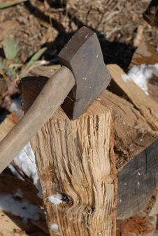 Free Hatchet And Wood Stock Images - 8793294