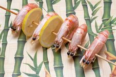 Free Barbecue Of Big Prawns Stock Photography - 8793812