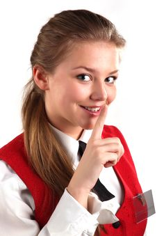 Housemaid In Uniform Hooshing Royalty Free Stock Images