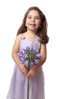 Free Pretty Girl With Beautiful Flower Smiling Royalty Free Stock Photography - 8795057