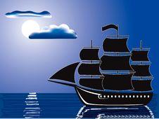 Free Moonlight Sail Royalty Free Stock Images - 8795799