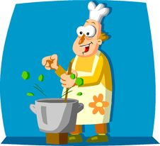 Happy Cook Stirring Food In Pan Royalty Free Stock Photo