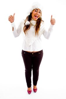 Free Pleased Female With Thumbs Up Stock Photography - 8796292