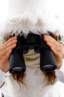 Free Young Woman Holding Binocular Royalty Free Stock Photos - 8796368
