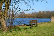 Free Bench At The Waterside Stock Image - 8796781