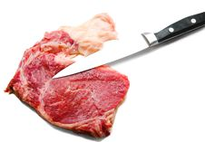 Knife Cutting Beef Royalty Free Stock Photography