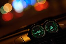 Vehicle Dash Instruments At Night Royalty Free Stock Photography