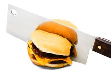 Free Meat Cleaver Cutting A Burger Stock Photo - 8797620
