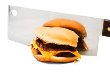 Free Meat Cleaver Cutting A Burger Stock Image - 8797621