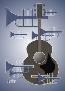Free Trumpet Plus Guitar Royalty Free Stock Photos - 8798078