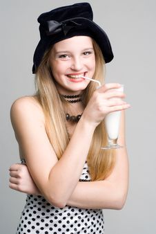 Laughing Girl With Glass Of Cocktail Royalty Free Stock Image