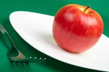 Free Utensils And Red Apple Royalty Free Stock Image - 8799216